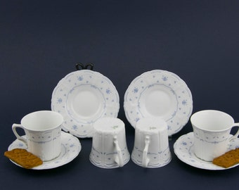 Rare Tirschenreuth Fleur De Lis Blue Espresso, Demitasse Cup & Saucer Set, Made in Germany, Blue and White
