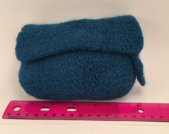 knitted, felted wool clutch