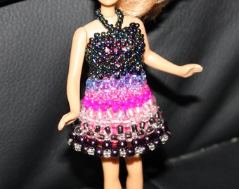 Colorful beaded dress for doll (comes with doll); cute, handmade, beadweaving, Art&collectibles, Dolls-miniatures