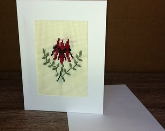 Red Orchid Cross-stitched Flower Greeting Card