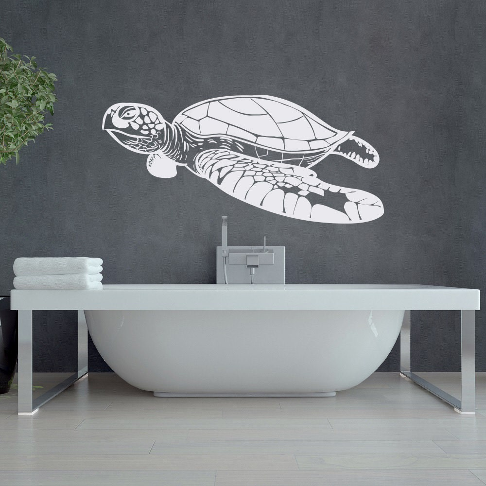 turtle wall decal sea animals decor nautical wall decal ocean. Black Bedroom Furniture Sets. Home Design Ideas