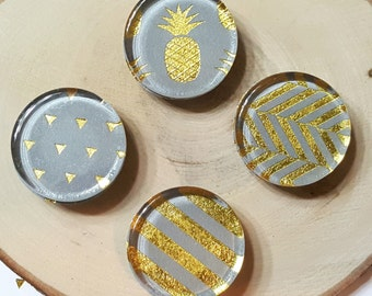 4 Gray Magnets / 1 inch, Glass, Gold, Summer, Fridge, Magnets / Stripes, Pineapple, Triangles / Gift under 5, Birthday Gift, Home Decor