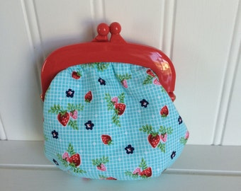 Aqua, navy, and red coin purse/jelly clip/snap pouch