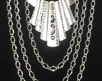 Silver Bib Statement Necklace