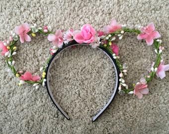 minnie floral ears in bloom PINK *adult*