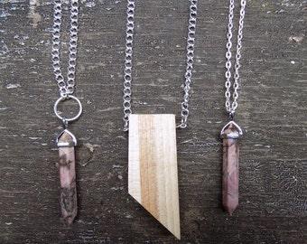 Wood pendant necklace