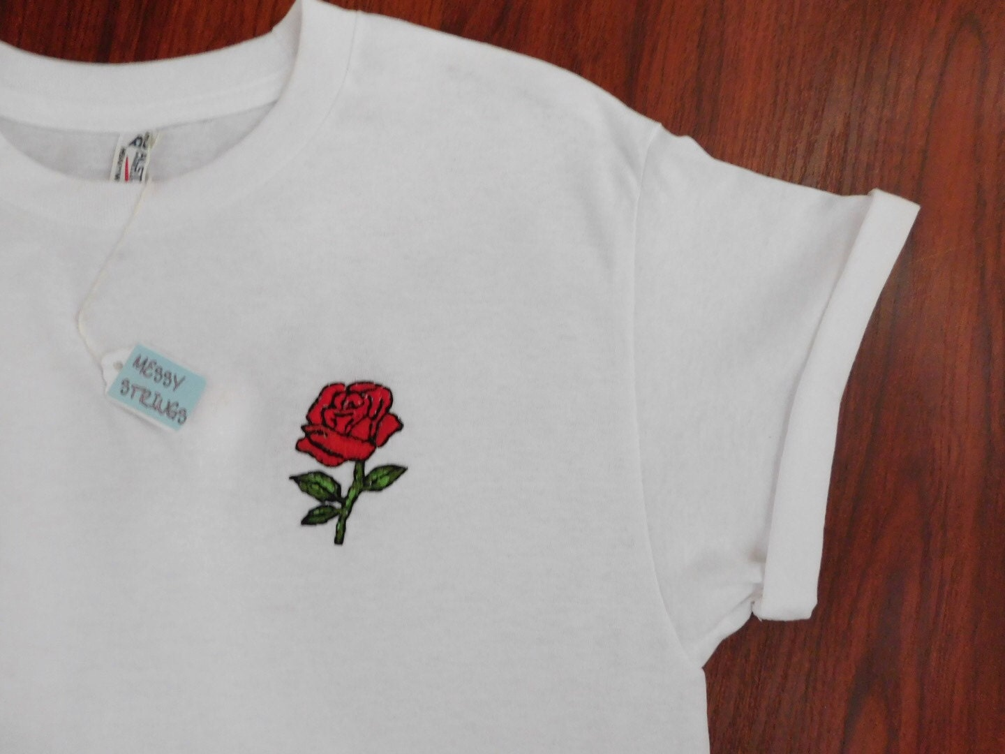 Single rose embroidered stitched t shirt
