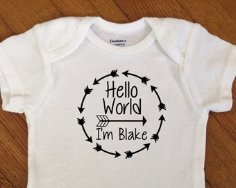 SALE! Hello World Arrow Circle Personalized Shirt, Boy Name Outfit, Newborn Boy Bodysuit, Infant Onesie®, Baby Shower, Personalized Hospital