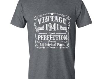 76th Birthday, 1941 Birthday, 1941 Gift for Him. Men's Tshirt, 76th Birthday Gift, 76th Birthday Idea, 76 Birthday Present, 76 GRAY 1941