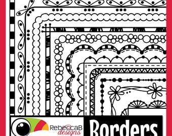 Clip Art Borders, Clipart Doodle Borders, Border and Frame Clip Art, Doodle, Printables