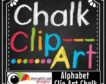 Alphabet Clip Art, Hand Drawn Chalk Letters, Digital Chalkboard Alphabet Clip Art, Printables