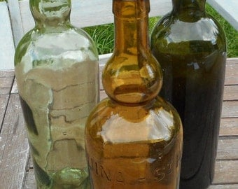 3 old bottles, vintage french, glass of 3 different colors, ST RAPHAEL CINCHONA, 1920
