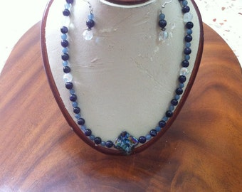 sweet dark blue beads hand made necklace with couple earrings
