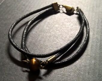 Natural Tigers eye bracelet man, stone bracelet, mens surfer rope beacelet