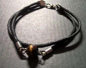 Mens stone rope bracelet, Tigers eye bracelet men, natural stone bracelet, black rope bracelet men, surfer mens jewelry,