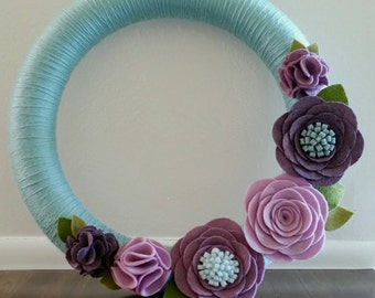 Teal & Purple Wreath 14""
