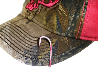 Set of two camo fish hook hat pin 2 hat clips for by for Fishing hooks for hats