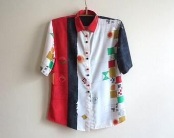 Red White Black Blouse Geometric Print Blouse Short Sleeves Blouse Abstract Print Womens Shirt Summer Top Medium Size