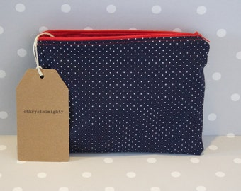 Handcrafted Navy Nautical Print Pouch Bag