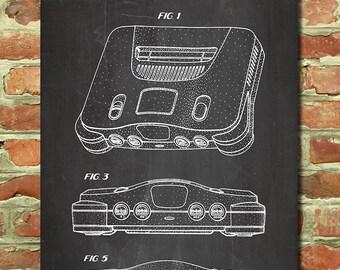 Nintendo 64 Patent Poster, Vintage Nintendo Wall Art, Retro Gamer Decor, Video Gamer Print, Video Game Gift, Mens Gamer Gift for Him P141