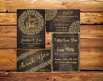 Wedding Invitation,Wedding set printable,Vintage wedding set invitation,RSVP card,Thank you card printable,Printable Wedding Invitation