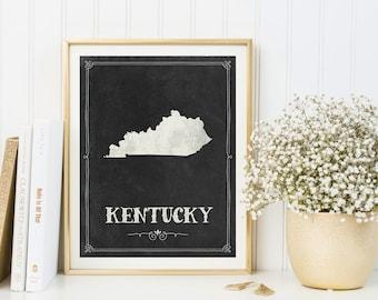 Kentucky map printable, Kentucky print, Kentucky poster, Kentucky decor, Housewarming, Kentucky sign, Kentucky wall art, Chalkboard map