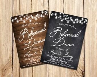 Rehearsal Dinner Invitation, Printable Rehearsal Dinner Invitation, Rehearsal Dinner, Rustic, Chalkboard, wood
