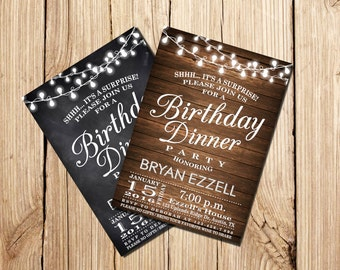 Birthday Dinner Invitation, Birthday Dinner Party, Surprise Birthday Invitation, Wooden, Chalkboard, Party, Printable Birthday Invitation