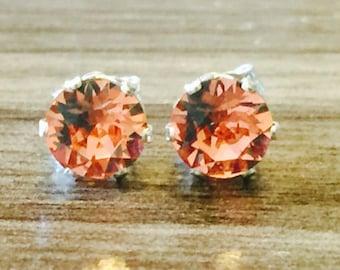 Rose Peach Swarovski Crystal Sterling Silver Earrings