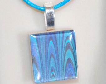 Scrabble Tile Fun Art Pendant Necklace - Blue Abstract