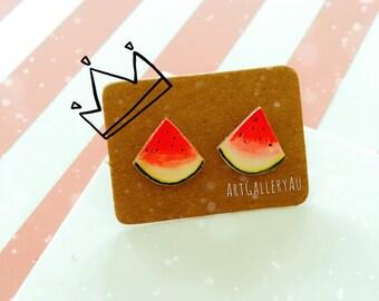 Kawaii Watermelon Stud Earrings, Cute Fruit Studs, Handmade Food Stud Earrings, Gift for Her, Birthday Gift