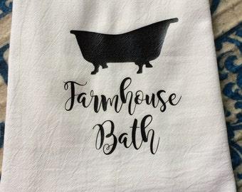 Farmhouse Bath Flour Sack Hand Towel Bathroom Shabby Chic Cottage Decor Bathe Farm Font Dish Tea Towels Floursack - Christmas Wedding Gift