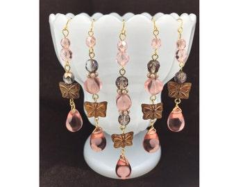 Pink Bead Curtain, Door Curtain, Chandelier Deco, Wedding Deco, Czech Glass, Set of 5pcs