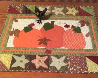 Fall three pumpkins,stars and leaves appliqué quilted wall hanging