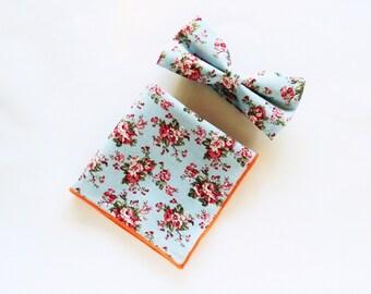 Men's Floral Blue Bowtie floral Pocket Square Pre-Tied Bowtie Gift for men Groomsmen Wedding blue Bowtie