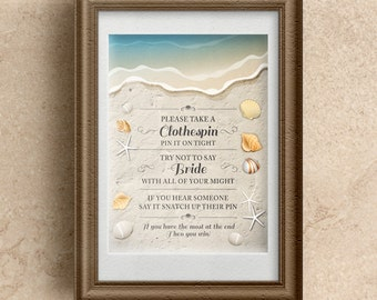 "Printable Waters Edge Shells and Sand Clothespin Game; Bridal Wedding or Couple's Shower, 8""x10"", JPG Instant Download"