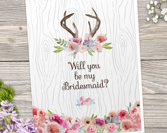 Printable Rustic Faux Bois Watercolor Wildflowers Antlers Be My Bridesmaid / Thank You Greeting Card; Editable PDF, Instant Download