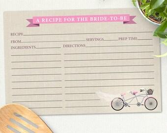 "Printable Tandem Pink Bicycle Recipe Card, Bridal Wedding Shower, 6""x4"", JPG Instant Download"