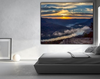Tennessee river, Chattanooga art, Chattanooga wall art, chattanooga canvas, Chattanooga,  Tennessee River, TN,  nature wall art canvas,