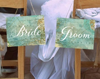 "Travel Wedding Chair Signs ""Bride & Groom"" Set of 2 Printable Signs, Instant Download!"