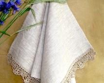 Linen towels grey Linen tea towels Linen kitchen towel Set of 2 Dish towel Rustic towel Crochet Tea towels Fabric towels Linen dishcloth