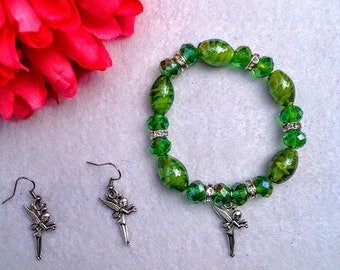 Fairy jewelry Inspired by Tinkerbell. Handmade Bracelet and Earrings Set.