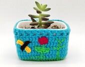 Plant pot, flower pot, pottery planter, ceramic planter, Pottery Vase, Ceramic Vase, Flower Vase, plant holder, unique gift, crochet pot