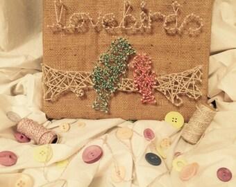 Handmade String Art - Lovebirds