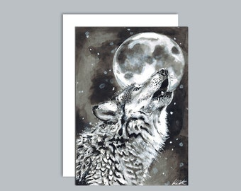 Wolf howling at the moon A6 greeting card