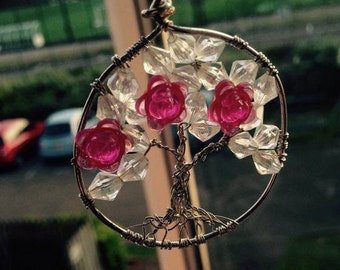 Blossoming Tree Pendant, Pink and White, Silver Wire