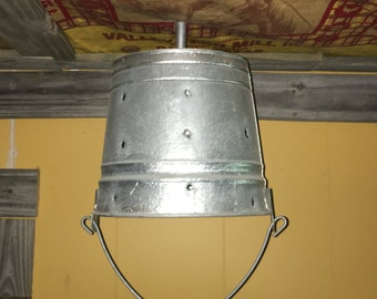 Galvanized Bucket Light with bullet holes