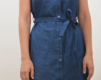denim midi dress  // blue Sleevless dress // handmade dress