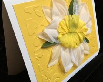 Silk Flower Gift card { Blank Inside } Yellow & White Greeting Note Card Wedding Get Well Birthday W Matiching Envelope Brand New