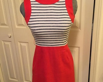 1970s Pinstriped Vintage Dress - Size 6